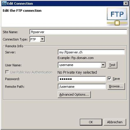 Maske der FTP-Verbindungseinstellungen